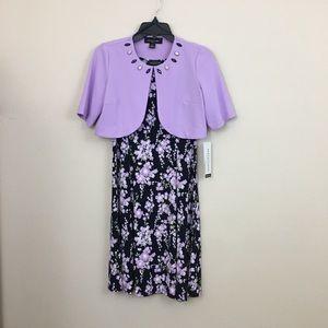 Perceptions NY 2pc set lilac dress cardi size PS